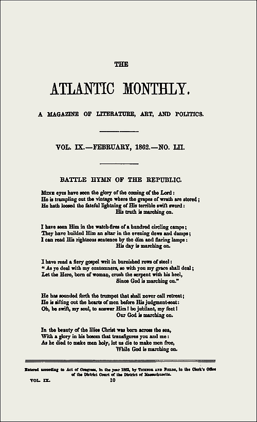 Battle Hymn of the Republic, Atlantic Monthly.—Click for Full-Size.