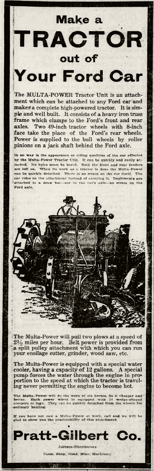 Make a Tractor out of Your Ford Car; Arizona Republican, February 12, 1920.