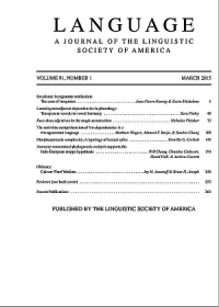 LSA Language Cover, Vol 91 No 1.