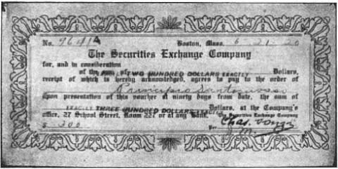 Ponzi Certificate.