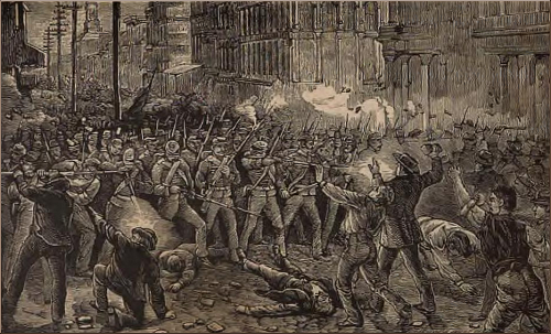 Baltimore—Sixth Maryland Regiment Firing on the Rioters.