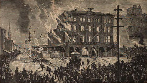 Burning of the Union Depot at Pittsburgh, by the Rioters.