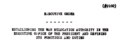 Executive Order 9102 Title.