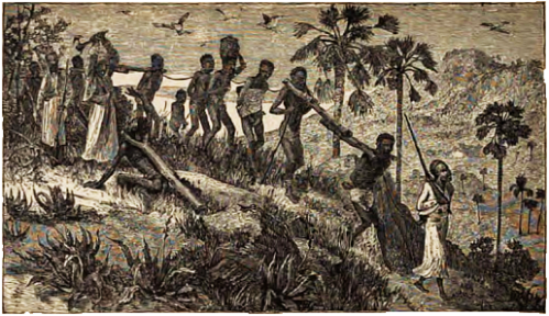 Slave Traders Marching Their Captives to the Coast, Butchering Disabled Ones Along the Way.
